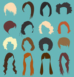 Fototapety Vector Set: Woman's Hair Style Silhouettes
