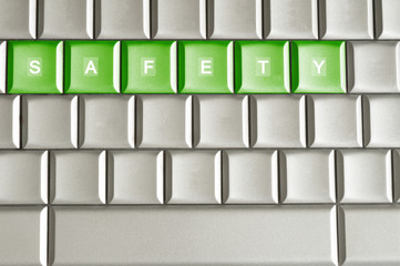 Metallic keyboard with the word SAFETY