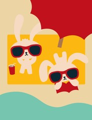 Chic Rabbit on The Beach in Summertime - Vector File EPS10