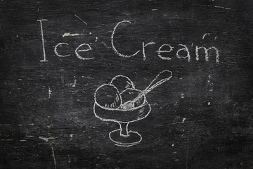 Chalk on black board: Ice cream