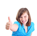 Happy positive girl show thumb up, isolated on white background. poster