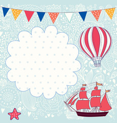 Holiday vector card with sail boat and balloon