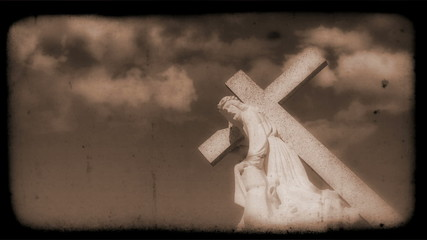 Crucifix with Clouds moving in the background