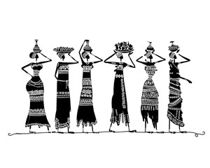 Sketch of ethnic women with jugs for your design