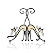 Graceful siamese cats for your design
