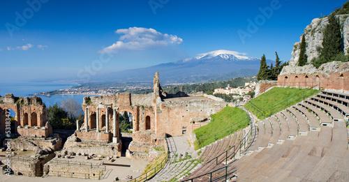 Papiers peints Ruine Ruins of the Greek Theater, Taormina