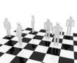 White abstract people stand on a chessboard
