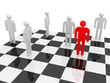 White abstract people with one red on a chessboard
