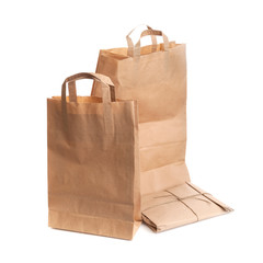 Group of paper bags isolated on white background