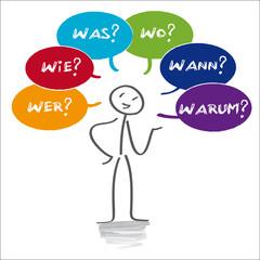 W-Fragen, wer, wie, was, wo, wann, warum, Analyse