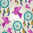 Cute seamless background with origami and dream catchers