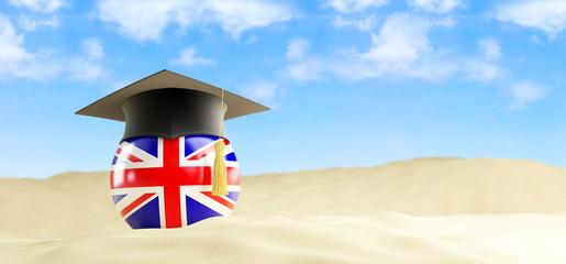 English language on holiday, graduation cap at the beach