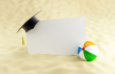 school at the beach, graduation cap blank, beach ball