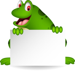 frog cartoon with blank sign