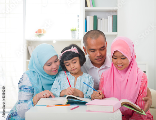 malay family learning together with lifestyle background