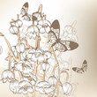 Elegant vintage design with spring flowers and butterflies
