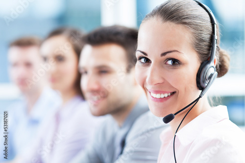canvas print picture Call center team