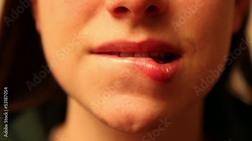 woman mouth with sensual lipstick