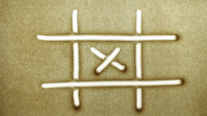 Tic Tac Toe, drawn by a finger on sand, Sand Painting