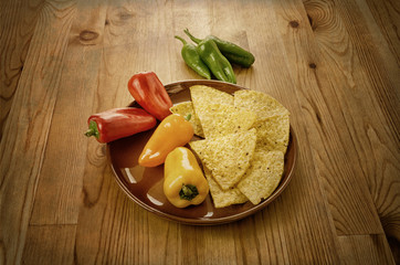 Nachos with peppers