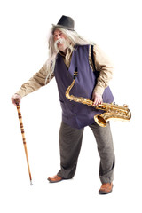 saxophonist with a cane