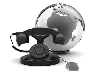 Retro rotary phone, earth globe and computer mouse