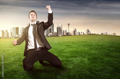 canvas print picture Happy Businessman