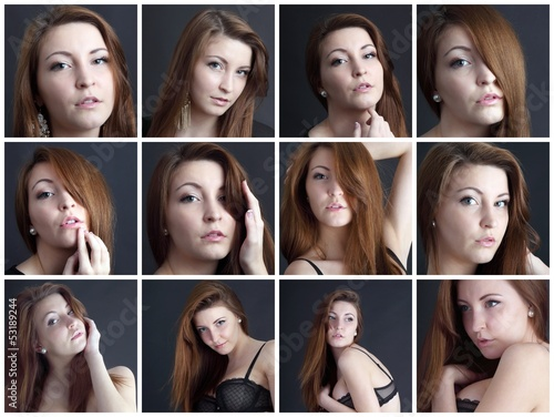 12 portraits of a beautiful young woman