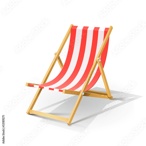 wooden beach chaise longue vector illustration isolated on
