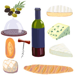 Set with wine bottle,cheese and bread.