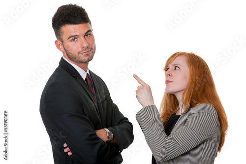 Man told off by woman - isolated on white