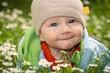 Leinwanddruck Bild - Baby auf der Blumenwiese