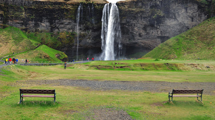 2 benches and waterfall