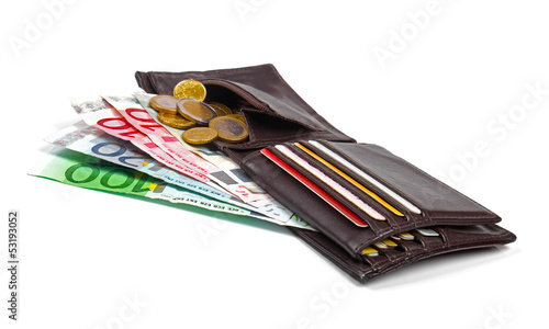 wallet with euro money, coins and credit cards