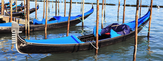 Panoramic view of gondolas in Venice