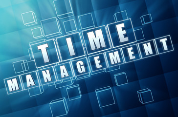 time management in blue glass cubes
