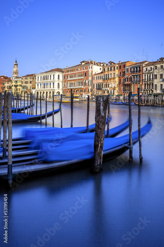 Vertical view of gondolas in Venice