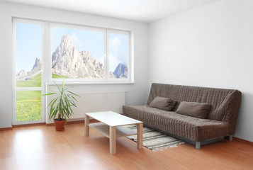 Living room interior with beautiful mountain view.