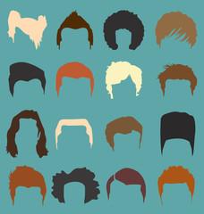Retro Men's Hairstyle Silhouettes