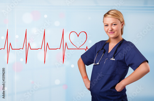 Young nurse listening to abstract pulse with red heart