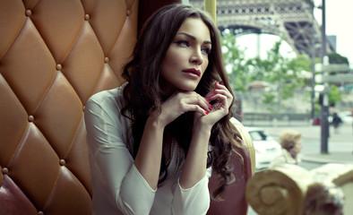 Beautiful alluring woman in Paris