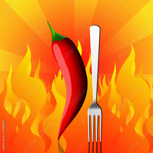 Red chili pepper with fork