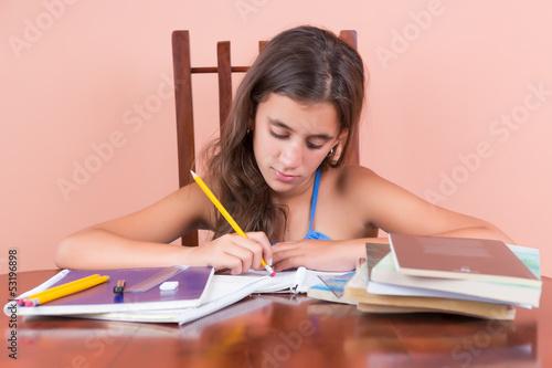 Hispanic girl working on her school homework