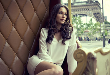 Young beautiful woman resting in Paris