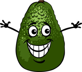funny avocado fruit cartoon illustration