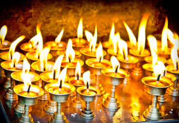Candles at swayambhunath temple in Nepal