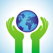 Vector ecology concept - hands holding globe icon