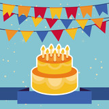 Vector background with flags and birthday cake