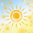 summer background with yellow suns