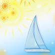 summer background with yellow suns and blue boat